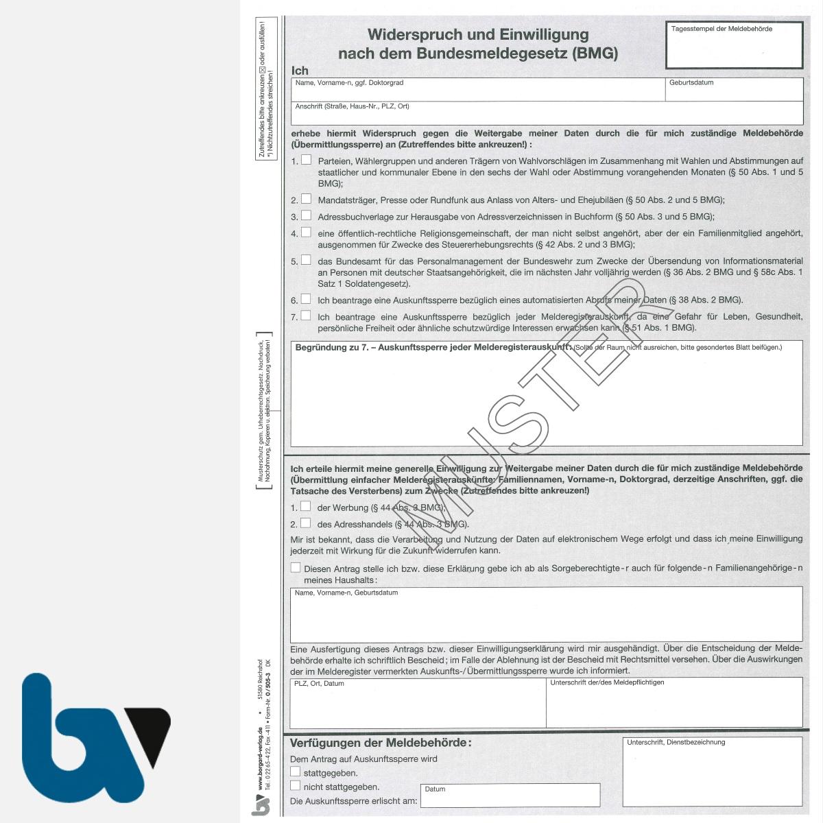0/505-3 Widerspruch Einwilligung Bundesmeldegesetz Übermittlungssperre Auskunftssperre Hinweise 3-fach selbstdurchschreibend DIN A4 Seite 2 | Borgard Verlag GmbH
