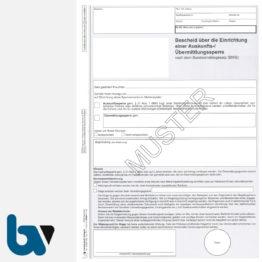 0/505-4 Bescheid Einrichtung Bundesmeldegesetz Übermittlungssperre Auskunftssperre 2 fach selbstdurchschreibend DIN A4 Seite 1 | Borgard Verlag GmbH