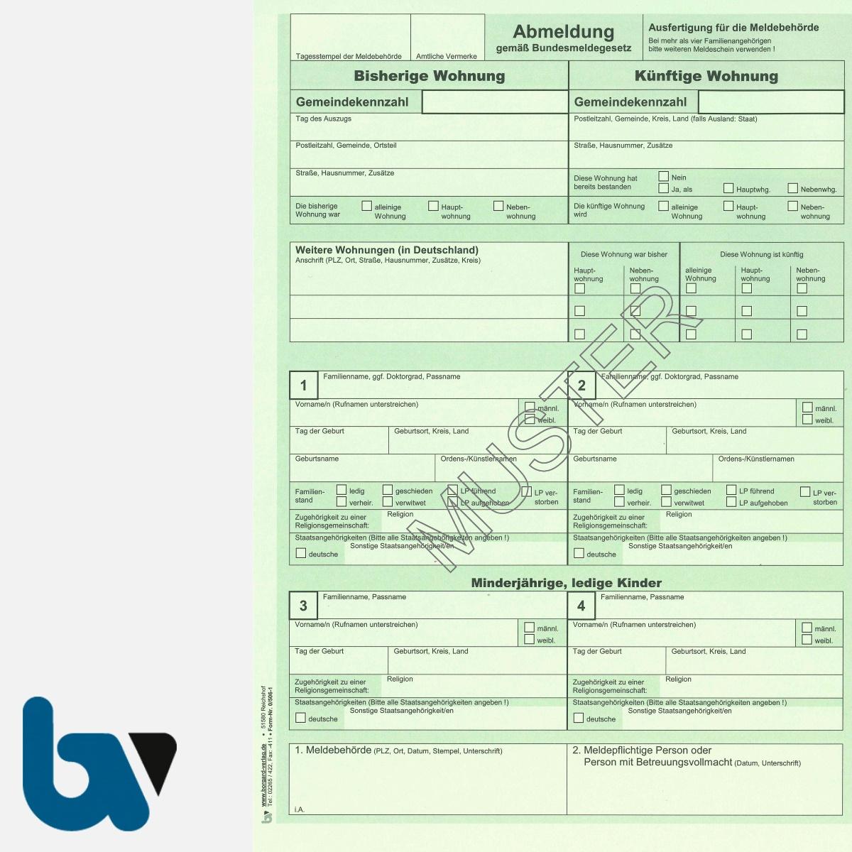 0/506-1 Abmeldung Meldeschein Bestätigung Meldebehörde Bundesmeldegesetz grün 2-fach selbstdurchschreibend DIN A4 Seite 1 | Borgard Verlag GmbH