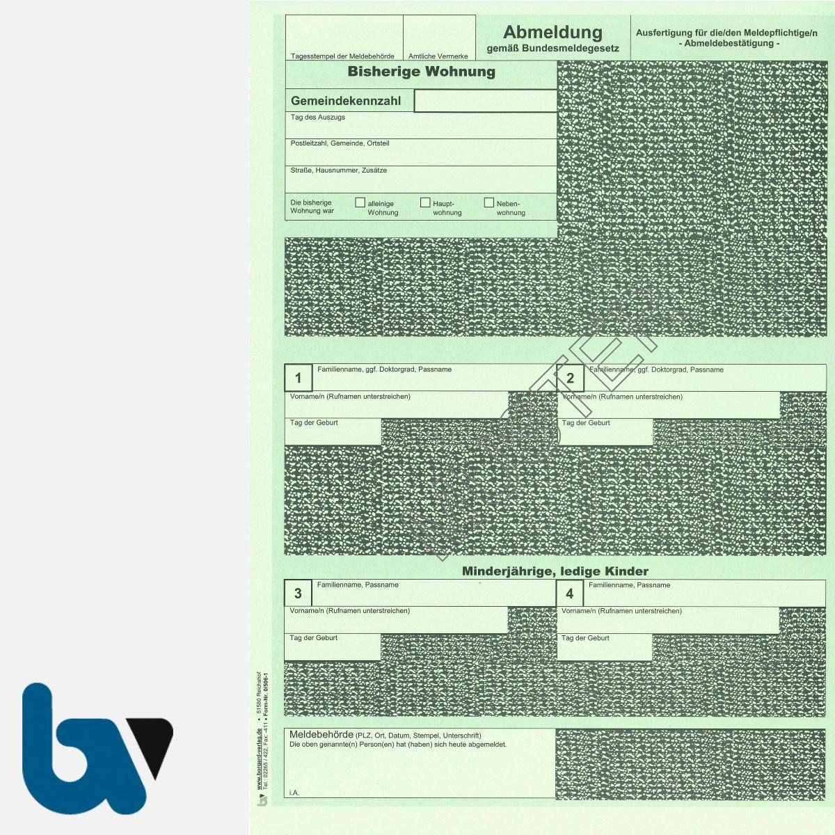 0/506-1 Abmeldung Meldeschein Bestätigung Meldebehörde Bundesmeldegesetz grün 2-fach selbstdurchschreibend DIN A4 Seite 2 | Borgard Verlag GmbH
