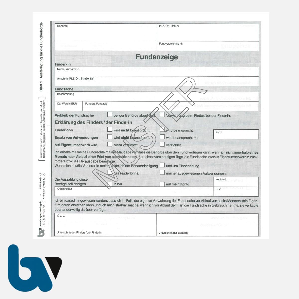 0/526-10 Fundanzeige Fundsache Erklärung Finder Fundanmeldebescheinigung mit Fundanhänger 4-fach selbstdurchschreibend DIN Seite 1 | Borgard Verlag GmbH