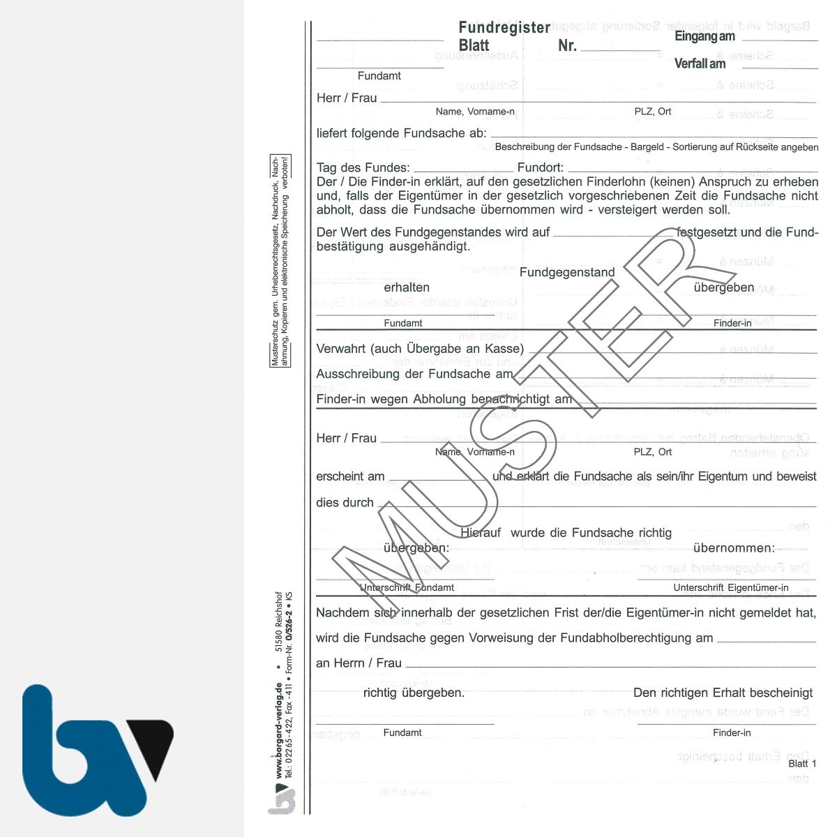 0/526-2 Fundanzeige Fundsache Finder Annahme Abholungsberechtigung Übergabebestätigung mit fundanhänger 5-fach selbstdurchschreibend DIN A5 Seite 1 | Borgard Verlag GmbH