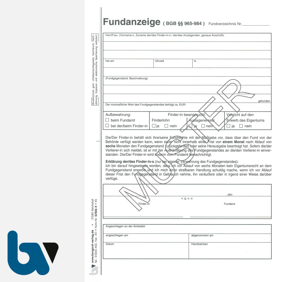 0/526-4 Fundanzeige Fundsache Erklärung Finder Fundanmeldebescheinigung mit Fundanhänger 4-fach selbstdurchschreibend DIN A5 Seite 1 | Borgard Verlag GmbH