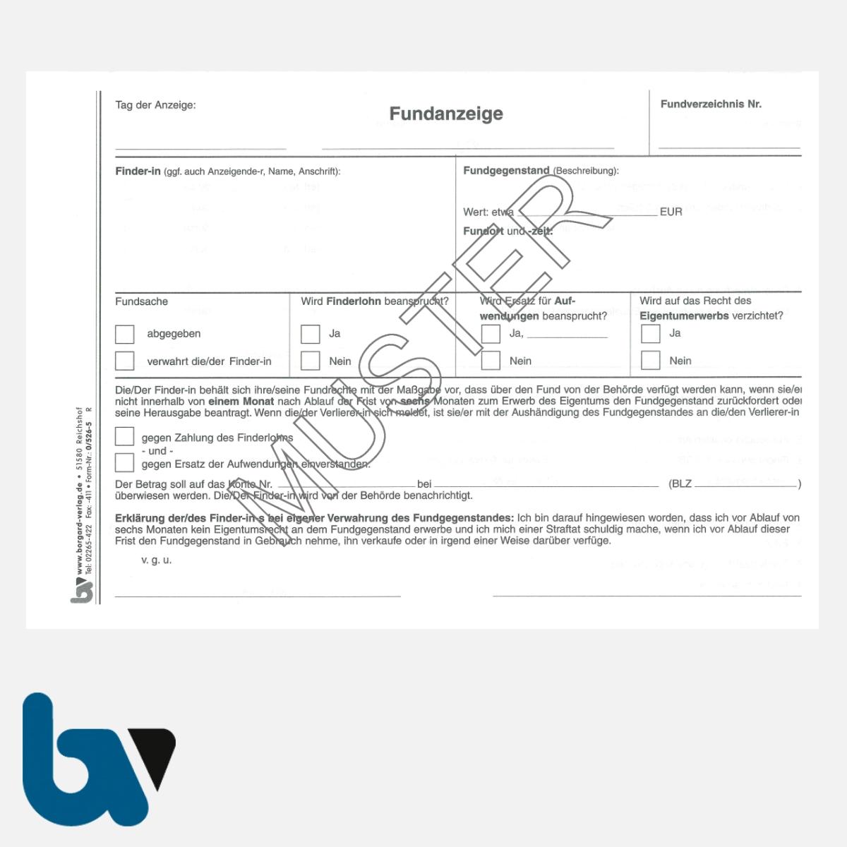 0/526-5 Fundanzeige Fundsache Fundanmeldebescheinigung Finder mit Fundanhänger 3-fach selbstdurchschreibend DIN A5 Seite 1 | Borgard Verlag GmbH