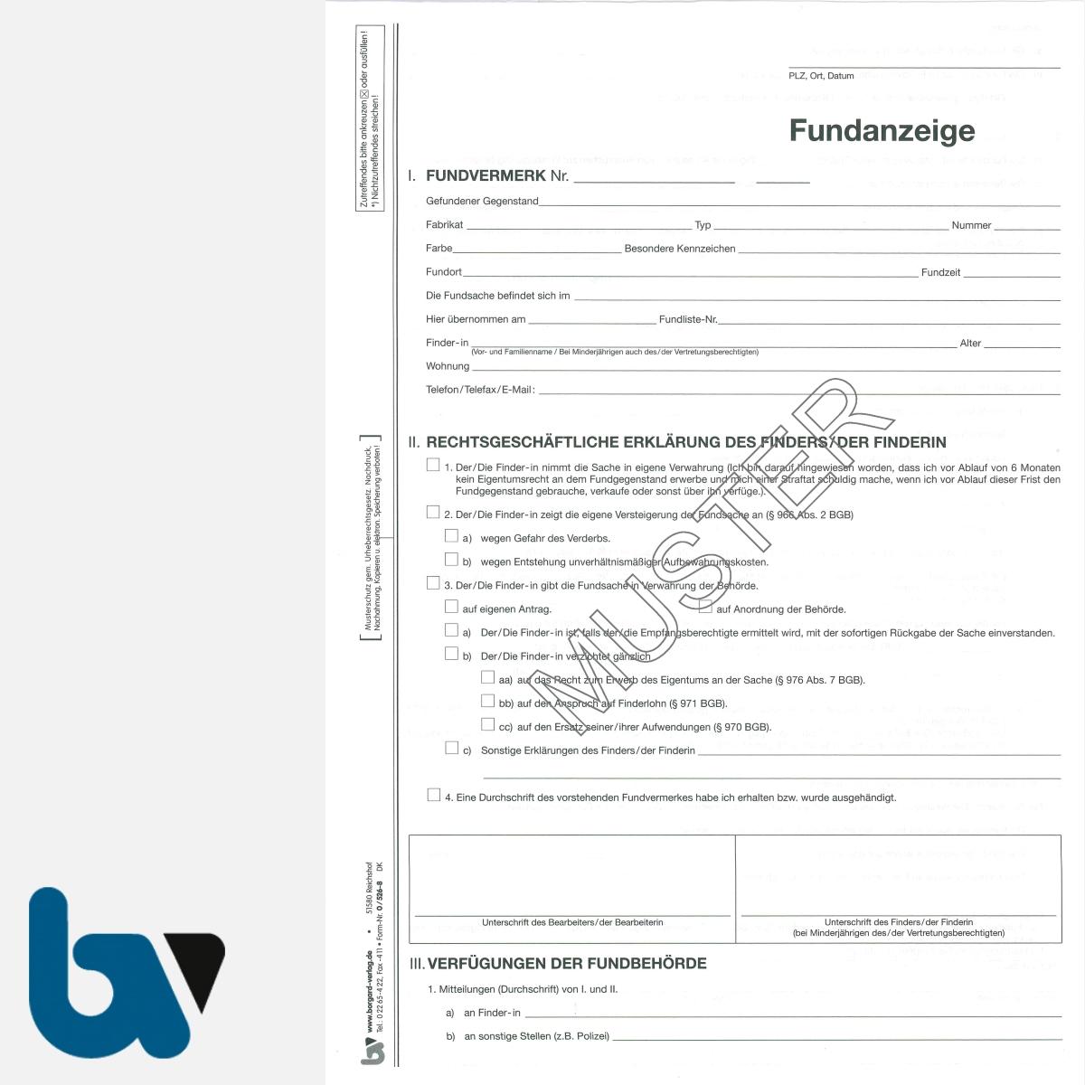 0/526-8 Fundanzeige Fundsache Erklärung Finder mit fundanhänger 4-fach selbstdurchschreibend DIN A4 Seite 1 | Borgard Verlag GmbH