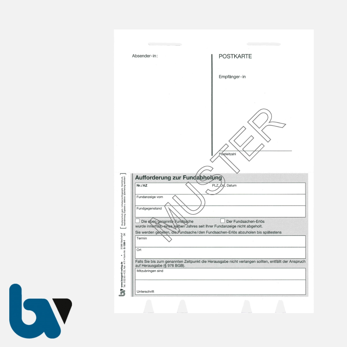 0/528-1 Aufforderung Fundabholung Fundsache Postkarte perforiert 2-fach selbstdurchschreibend DIN A5 A6 Seite 1 | Borgard Verlag GmbH