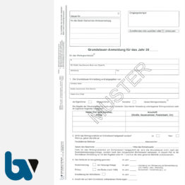 12/207-4.1 Grundsteuer Anmeldung Berechnung Entrichtung mit Einzugsermächtigung Erläuterungen Hinweise 3-fach selbstdurchschreibend DIN A4 Seite 1 | Borgard Verlag GmbH