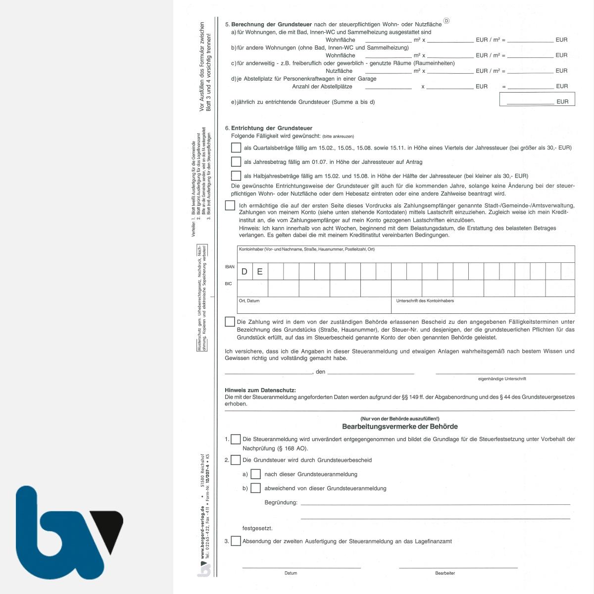 12/207-4.1 Grundsteuer Anmeldung Berechnung Entrichtung mit Einzugsermächtigung Erläuterungen Hinweise 3-fach selbstdurchschreibend DIN A4 Seite 2 | Borgard Verlag GmbH