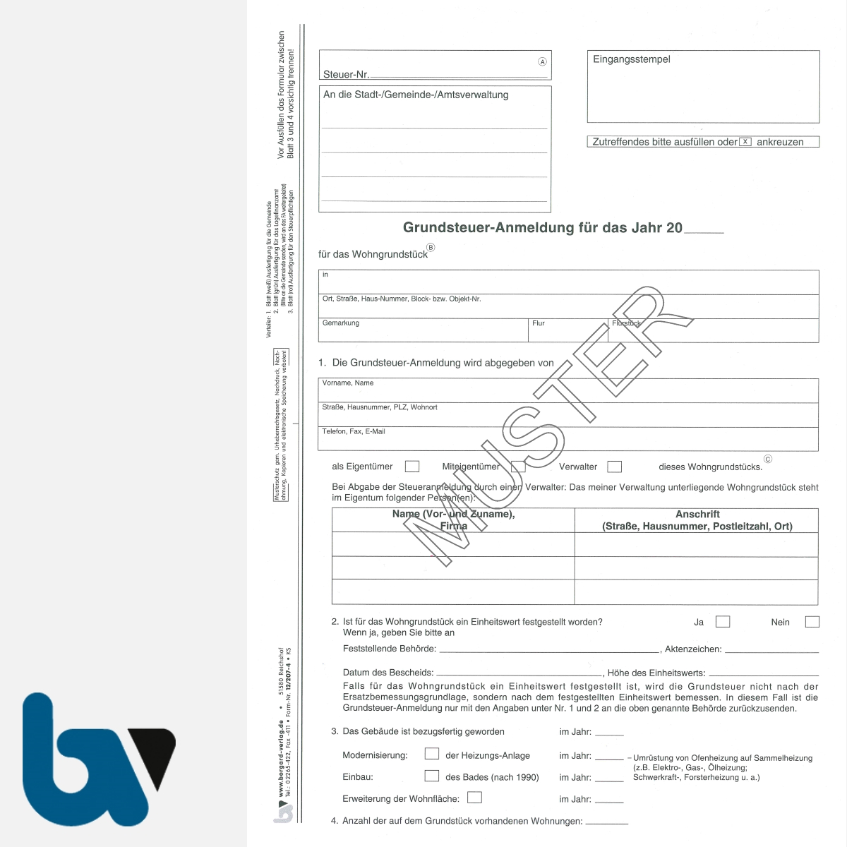 12/207-4 Grundsteuer Anmeldung Berechnung Entrichtung ohne Einzugsermächtigung Erläuterungen Hinweise 3-fach selbstdurchschreibend DIN A4 Seite 1 | Borgard Verlag GmbH