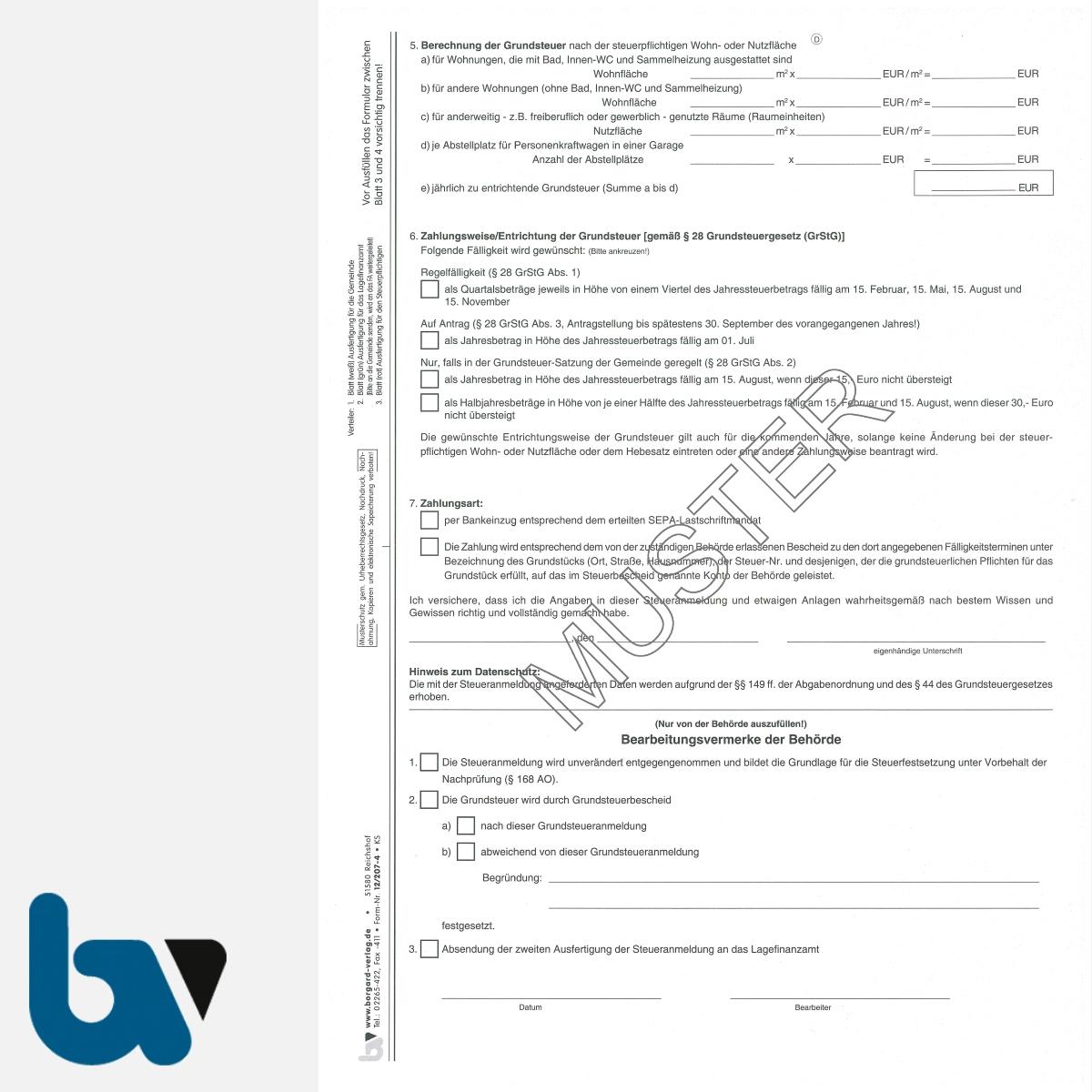 12/207-4 Grundsteuer Anmeldung Berechnung Entrichtung ohne Einzugsermächtigung Erläuterungen Hinweise 3-fach selbstdurchschreibend DIN A4 Seite 2 | Borgard Verlag GmbH