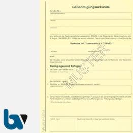 0/489-1 Genehmigungsurkunde Personenbeförderung PBefG Verkehr Taxen 2-fach Karton gelb DIN A4 Seite 1   Borgard Verlag GmbH