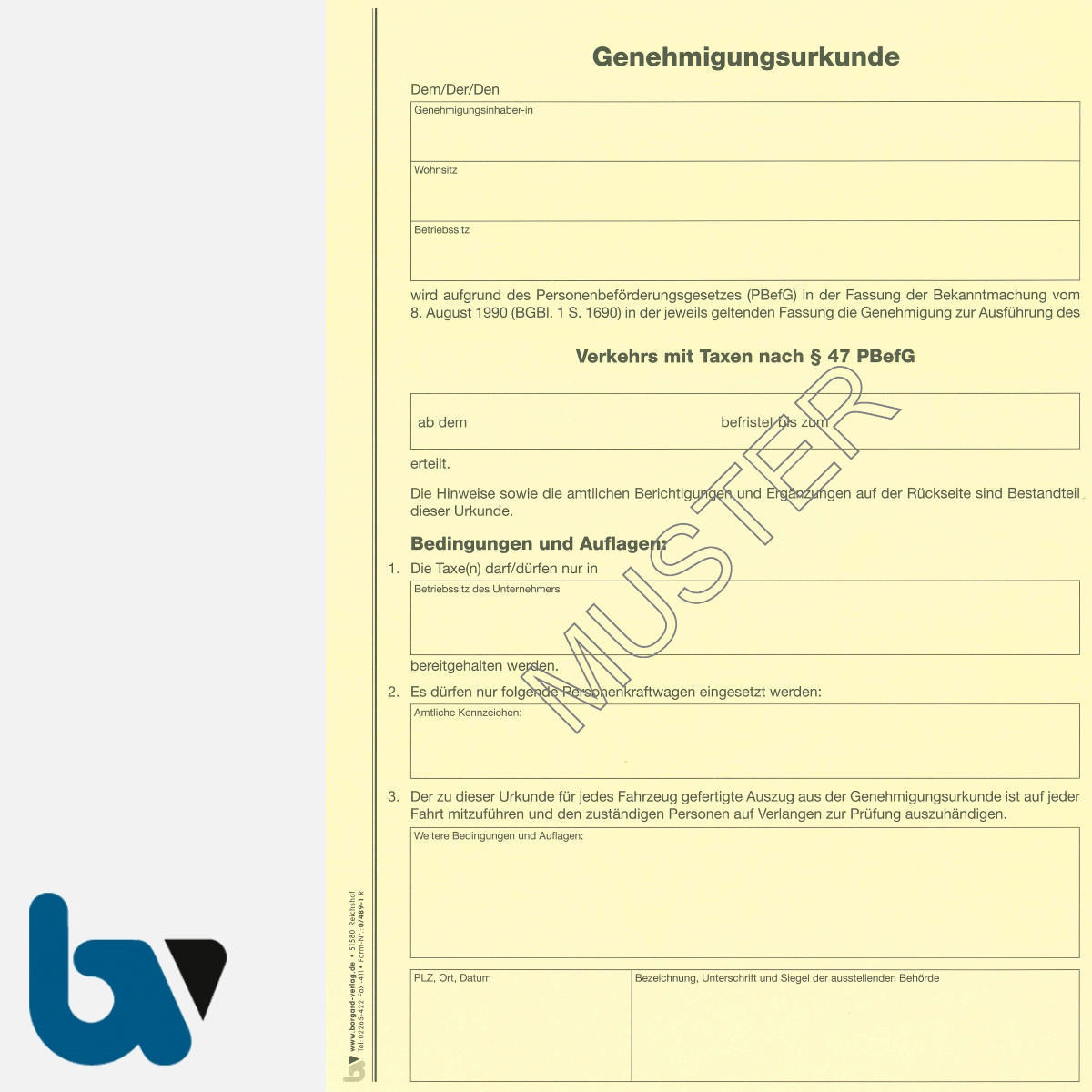 0/489-1 Genehmigungsurkunde Personenbeförderung PBefG Verkehr Taxen 2-fach Karton gelb DIN A4 Seite 1 | Borgard Verlag GmbH