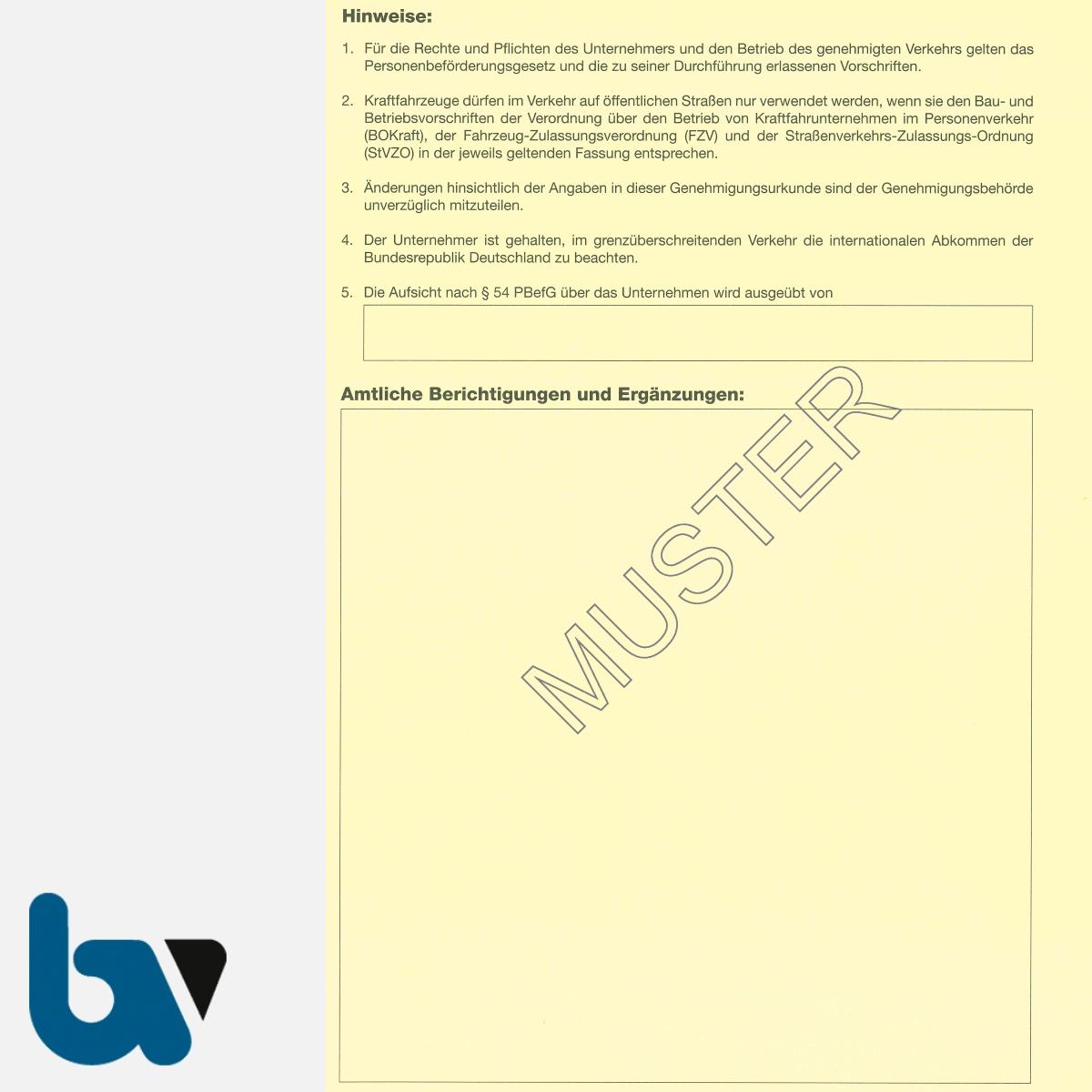 0/489-1 Genehmigungsurkunde Personenbeförderung PBefG Verkehr Taxen 2-fach Karton gelb DIN A4 Seite 2 | Borgard Verlag GmbH