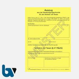 0/489-2 Auszug Genehmigungsurkunde Personenbeförderung PBefG Verkehr Taxen Taxi 2-fach selbstdurchschreibend Neobond gelb DIN A6   Borgard Verlag GmbH