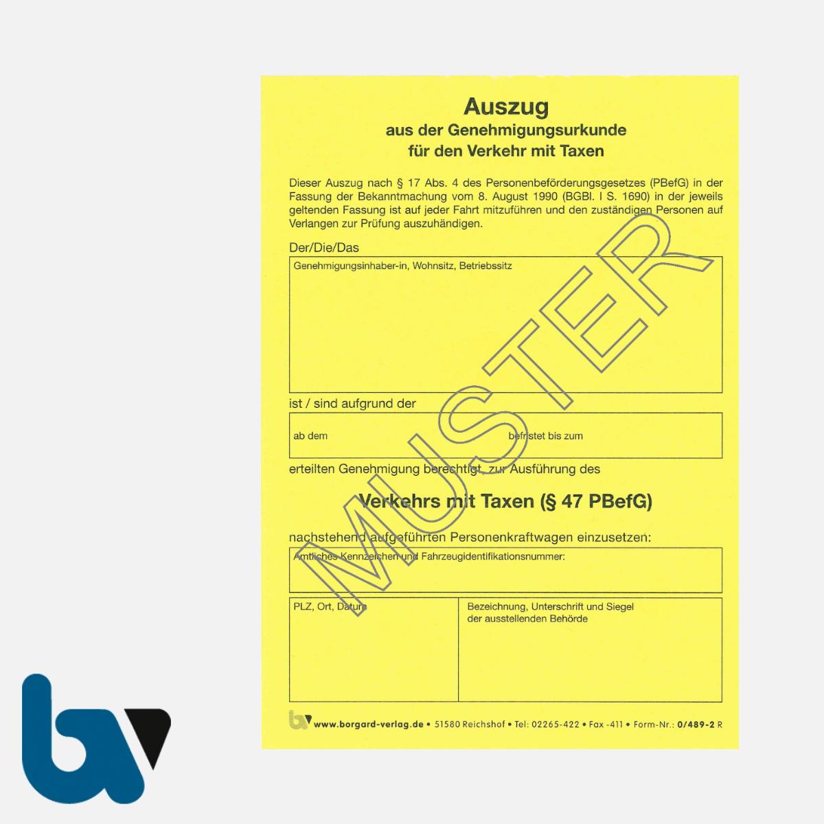0/489-2 Auszug Genehmigungsurkunde Personenbeförderung PBefG Verkehr Taxen Taxi 2-fach selbstdurchschreibend Neobond gelb DIN A6 | Borgard Verlag GmbH