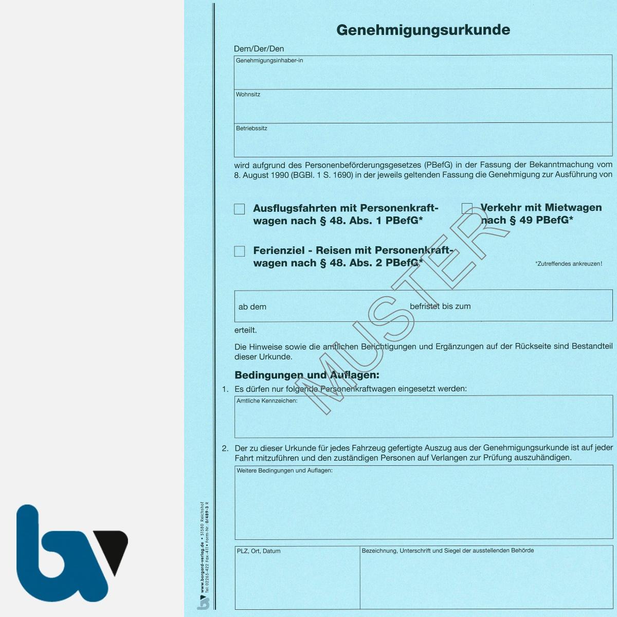 0/489-3 Genehmigungsurkunde Personenbeförderung PBefG Ausflugsfahrten Verkehr Mietwagen Reisen Ferienziel 2-fach Karton blau DIN A4 Seite 1 | Borgard Verlag GmbH