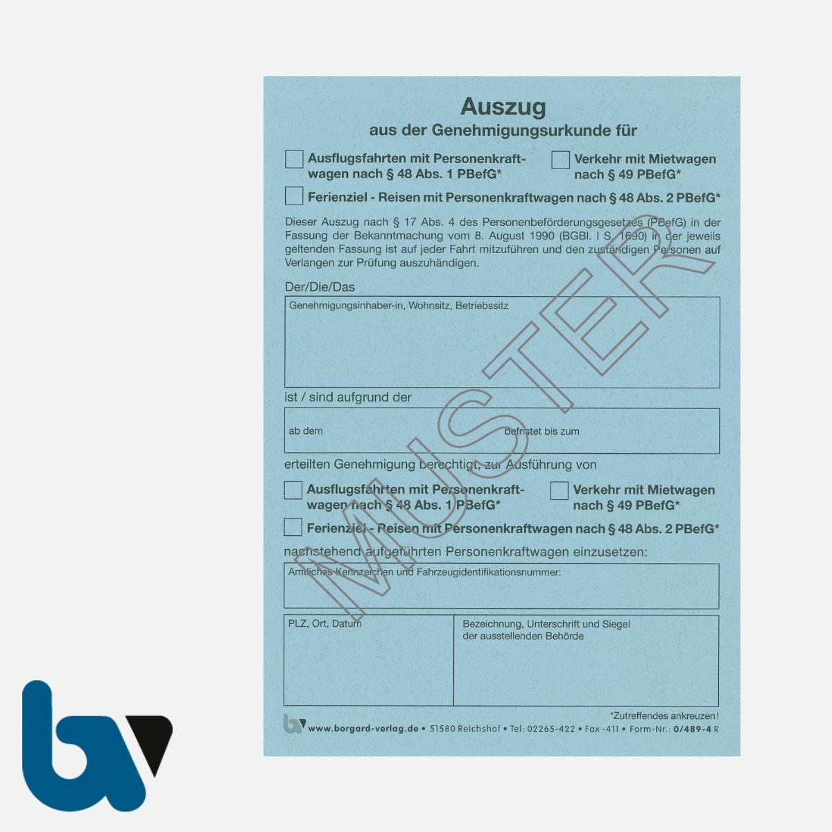 0/489-4 Auszug Genehmigungsurkunde Personenbeförderung PBefG Ausflugsfahrten Verkehr Mietwagen Reisen Ferienziel 2-fach selbstdurchschreibend Neobond blau DIN A6 | Borgard Verlag GmbH