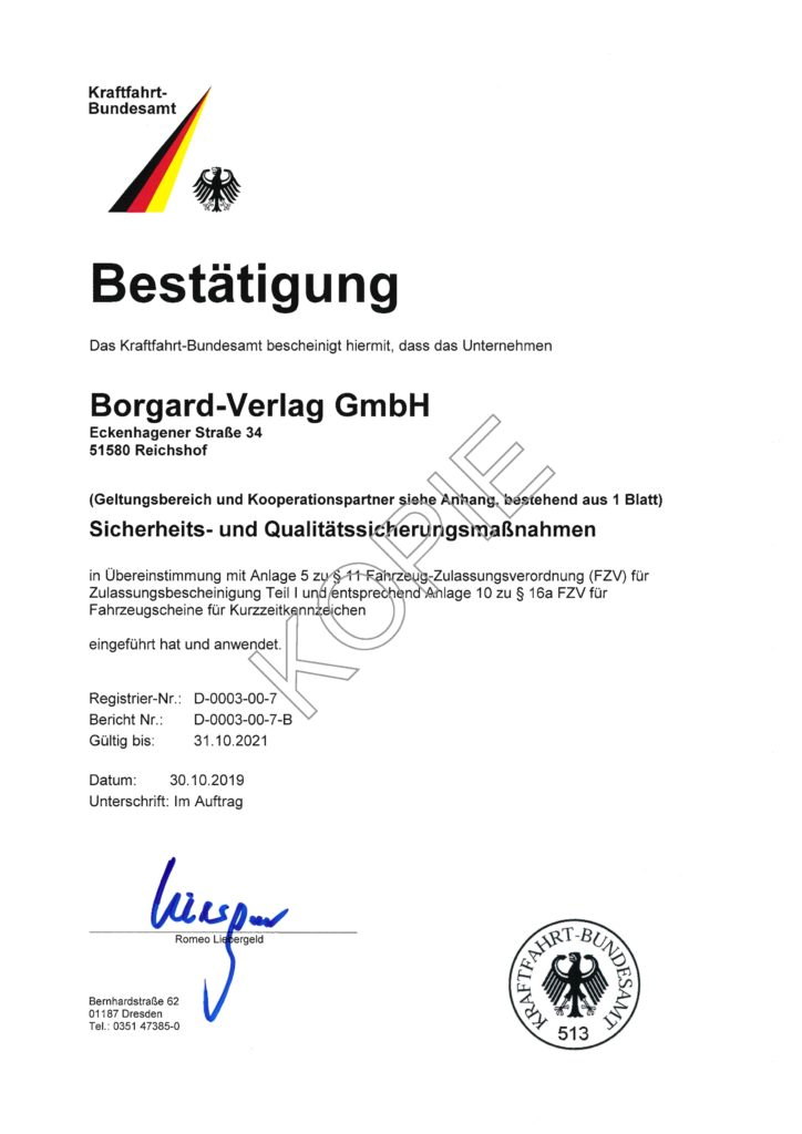 Kraftfahrt-Bundesamt Zertifikat 2019-2021 | Borgard Verlag GmbH