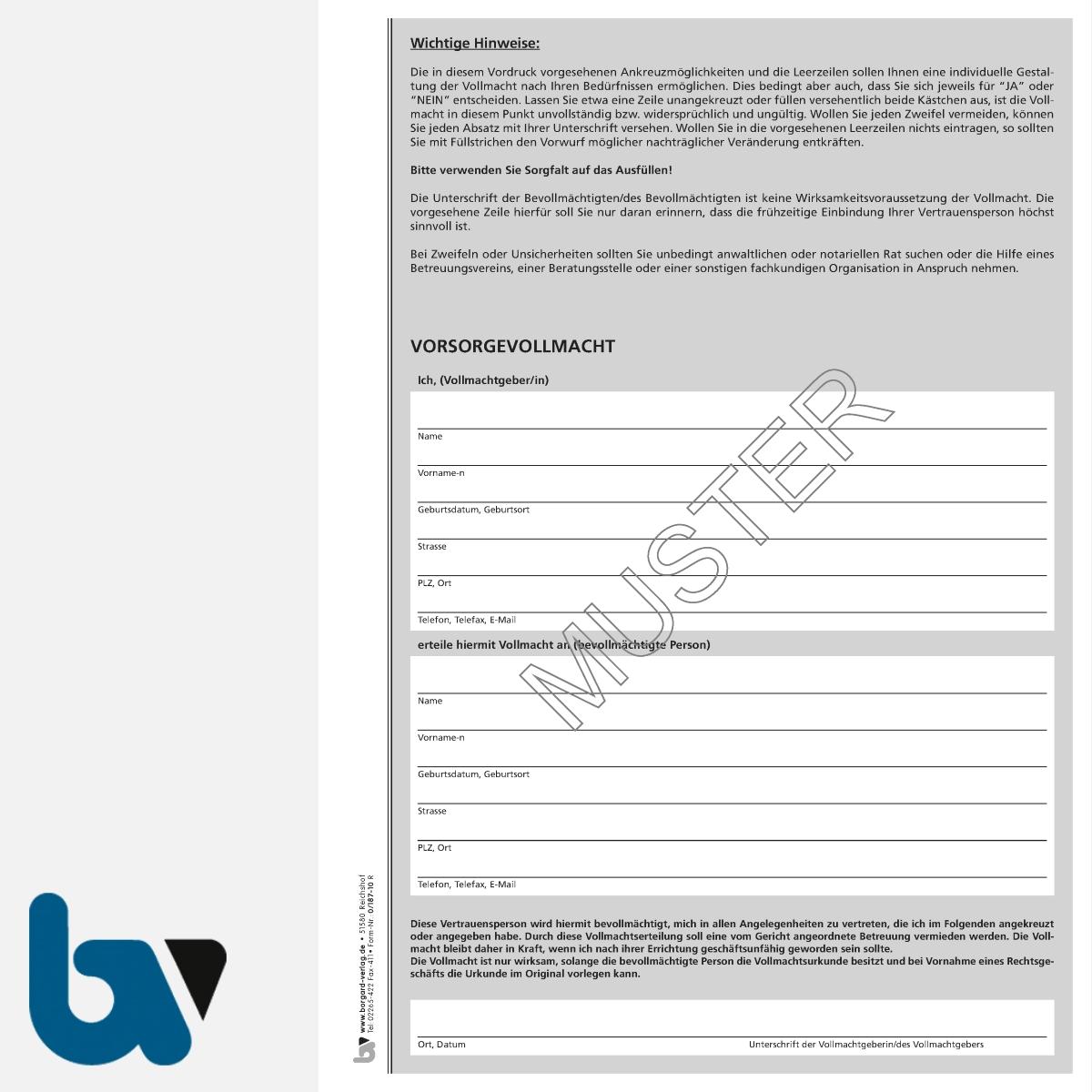 0/187-10 Vorsorgevollmacht schriftlich Muster Bundesministerium Justiz Betreuungsverfügung Patientenverfügung DIN A4 Seite 1 | Borgard Verlag GmbH