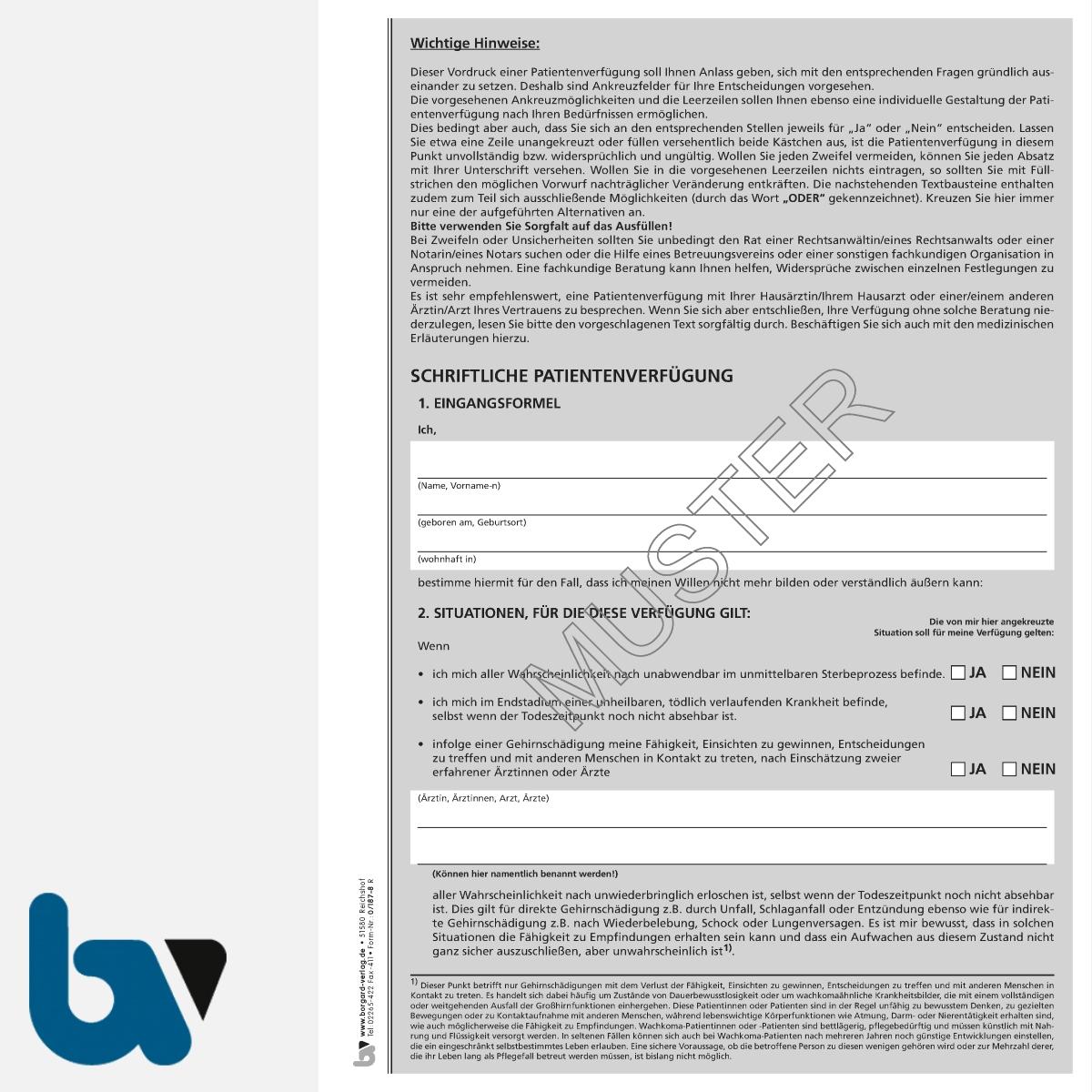 0/187-8 Patientenverfügung schriftlich Muster Bundesministerium Justiz Vorsorgevollmacht Betreuung DIN A4 Seite 1 | Borgard Verlag GmbH