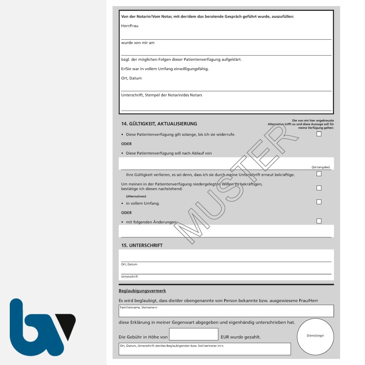 0/187-8 Patientenverfügung schriftlich Muster Bundesministerium Justiz Vorsorgevollmacht Betreuung DIN A4 Seite 8 | Borgard Verlag GmbH