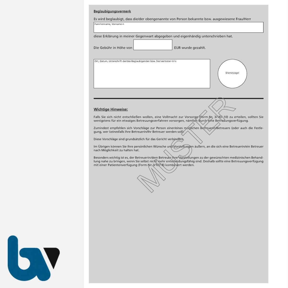 0/187-9 Betreuungsverfügung schriftlich Muster Bundesministerium Justiz Vorsorgevollmacht Patientenverfügung DIN A4 Seite 2 | Borgard Verlag GmbH