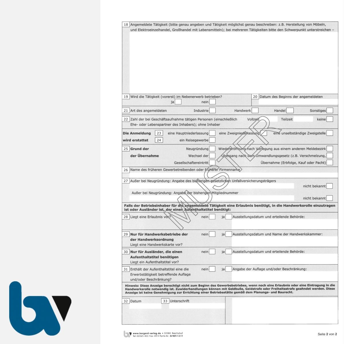 0/401-1.2 Gewerbe Anmeldung Gewa1 Paragraph 14 55c Gewerbeordnung 2-fach selbstdurchschreibend DIN A4 Seite 2 | Borgard Verlag GmbH