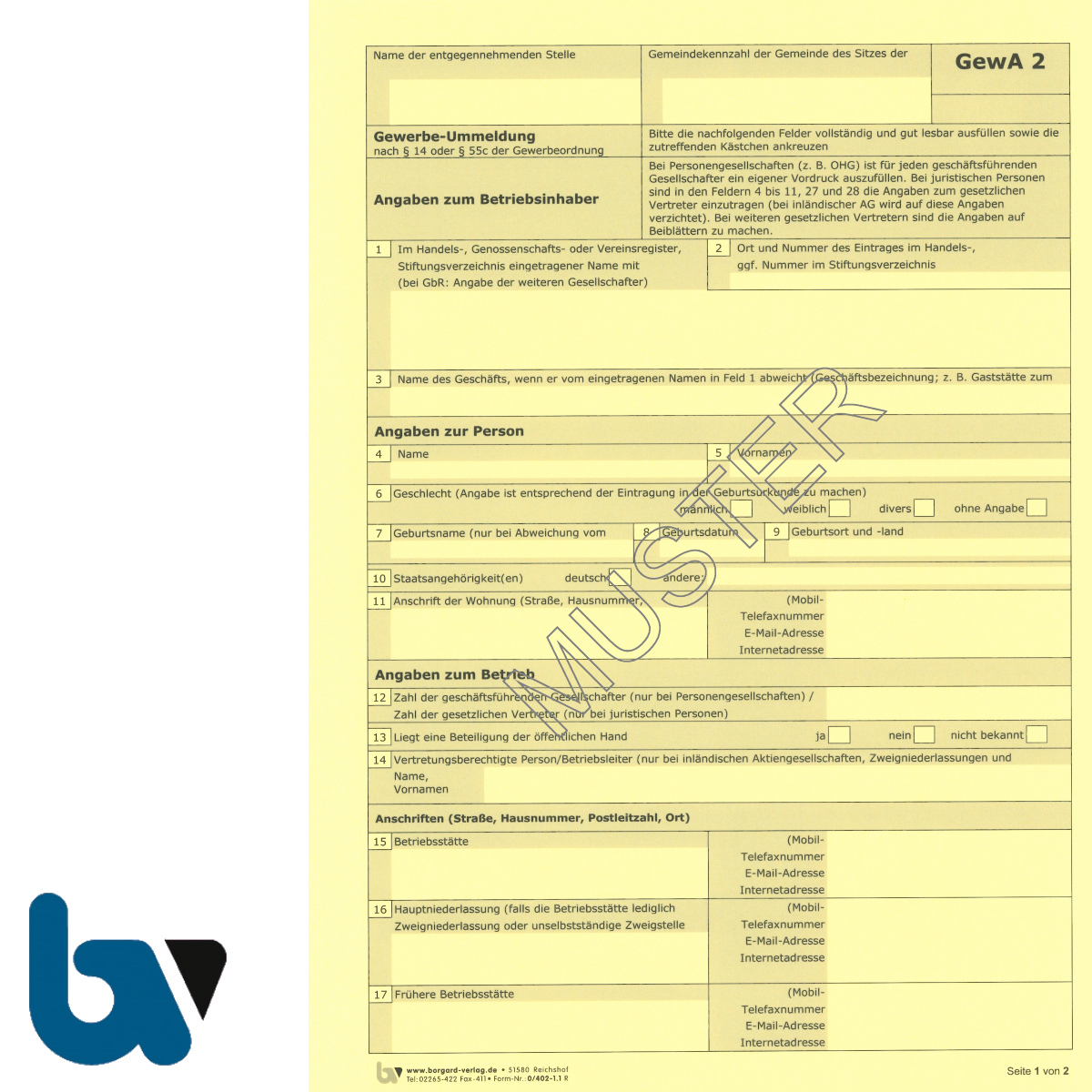 0/402-1.1 Gewerbe Ummeldung Gewa2 Paragraph 14 55c Gewerbeordnung 2-fach selbstdurchschreibend DIN A4 Seite 1 | Borgard Verlag GmbH