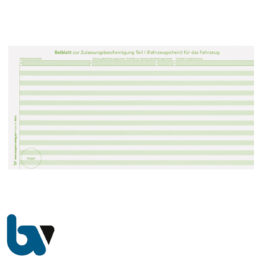 401 a Beiblatt Zulassungsbescheinigung Teil 1 Fahrzeugschein Pretex einfarbig grün 210 105 | Borgard Verlag GmbH