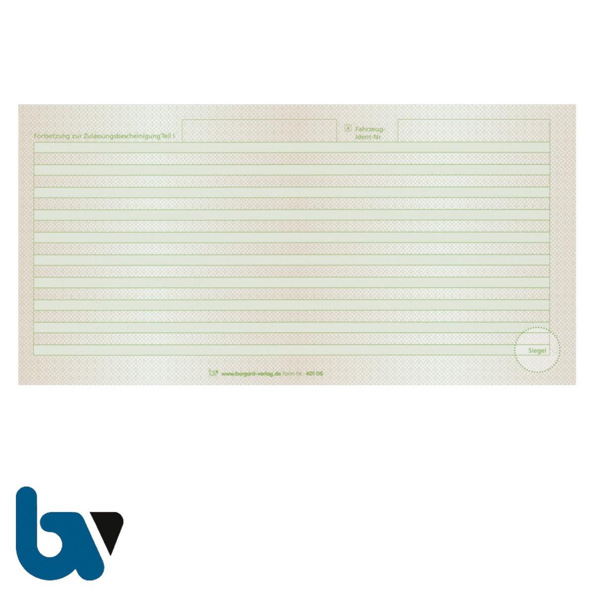 401 DS Beiblatt Zulassungsbescheinigung Teil 1 Fahrzeugschein Pretex Guilloche zweifarbig grün braun 210 105 | Borgard Verlag GmbH