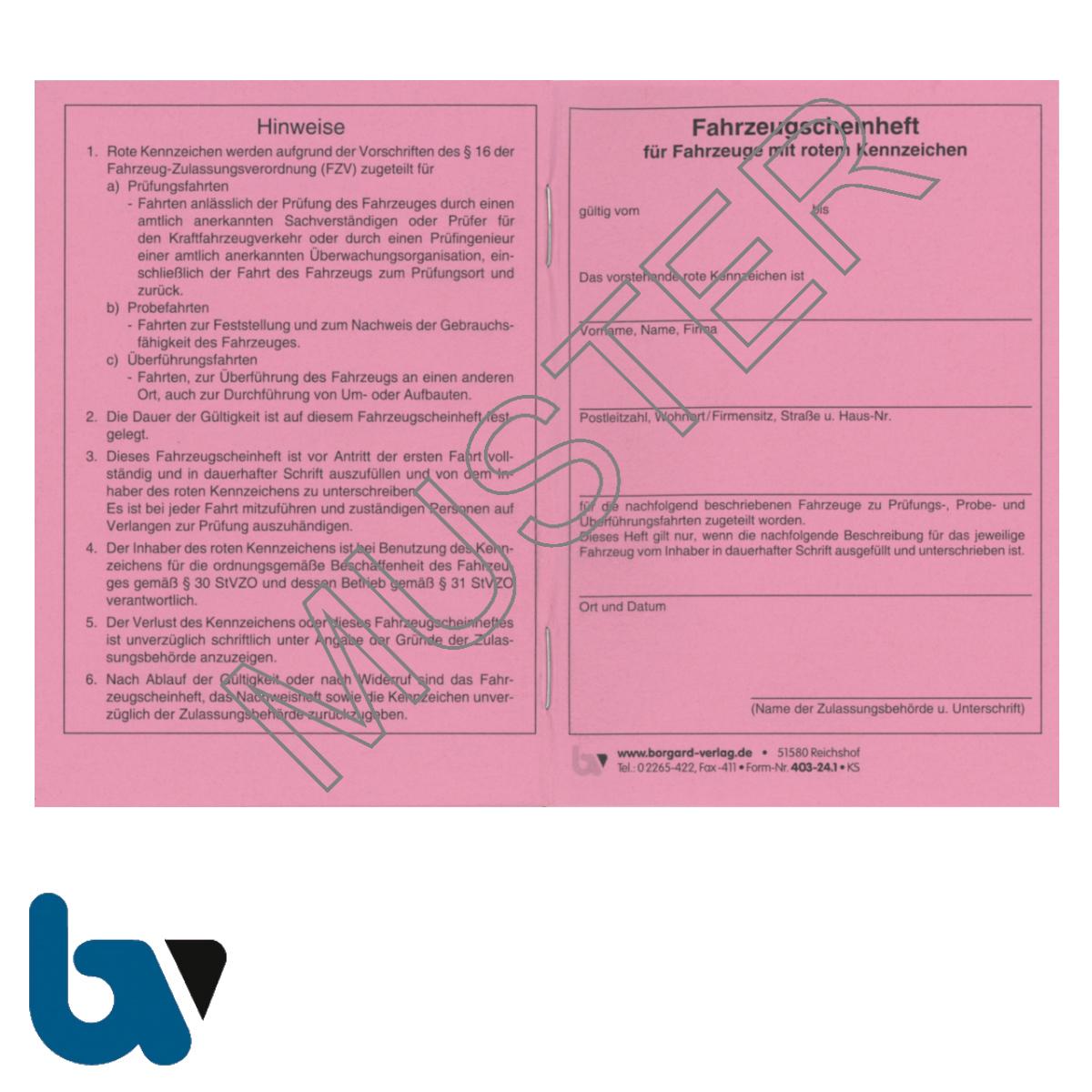 403-24.1 Fahrzeugscheinheft rot Kennzeichen §16 Anlage 9 FzV Fahrzeug Zulassungsverordnung Neobond rosa DIN A7 Seite 1 | Borgard Verlag GmbH