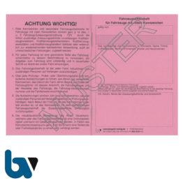 403-24.2 Fahrzeugscheinheft rot Kennzeichen §16 Anlage 9 FzV Fahrzeug Zulassungsverordnung Neobond rosa DIN A7 Seite 1 | Borgard Verlag GmbH