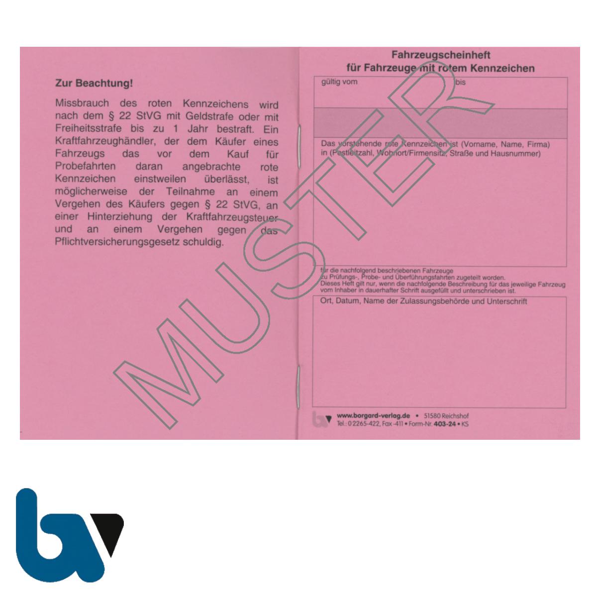 403-24 Fahrzeugscheinheft rot Kennzeichen §16 Anlage 9 FZV Fahrzeug Zulassungsverordnung Neobond rosa DIN A7 Seite 1 | Borgard Verlag GmbH