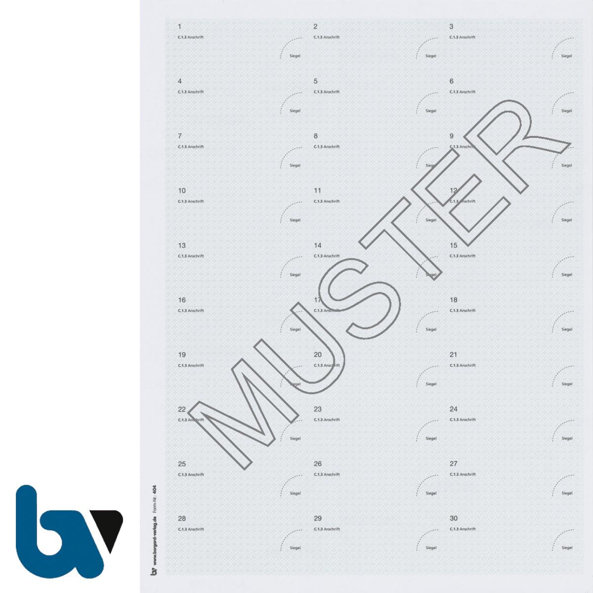 404 Adressaufkleber Anschriftenänderung Zulassungsbescheinigung Teil 1 Bogen | Borgard Verlag GmbH