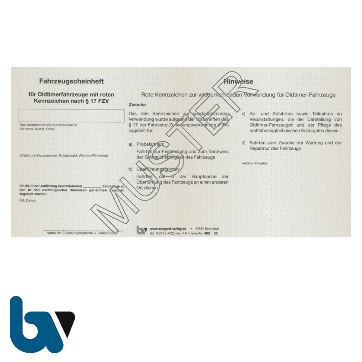 405 Fahrzeugscheinheft Oldtimer rot Kennzeichen §17 Anlage 10a FzV Fahrzeug Zulassungsverordnung Vorderseite | Borgard Verlag GmbH