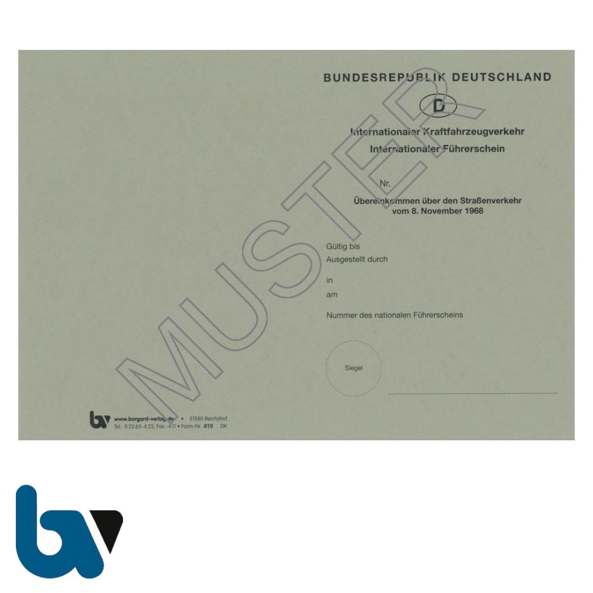 419 International Führerschein Übereinkommen 1968 §25b Anlage 8d FeV Fahrerlaubnis Verordnung Neobond grau Seite 1 | Borgard Verlag GmbH