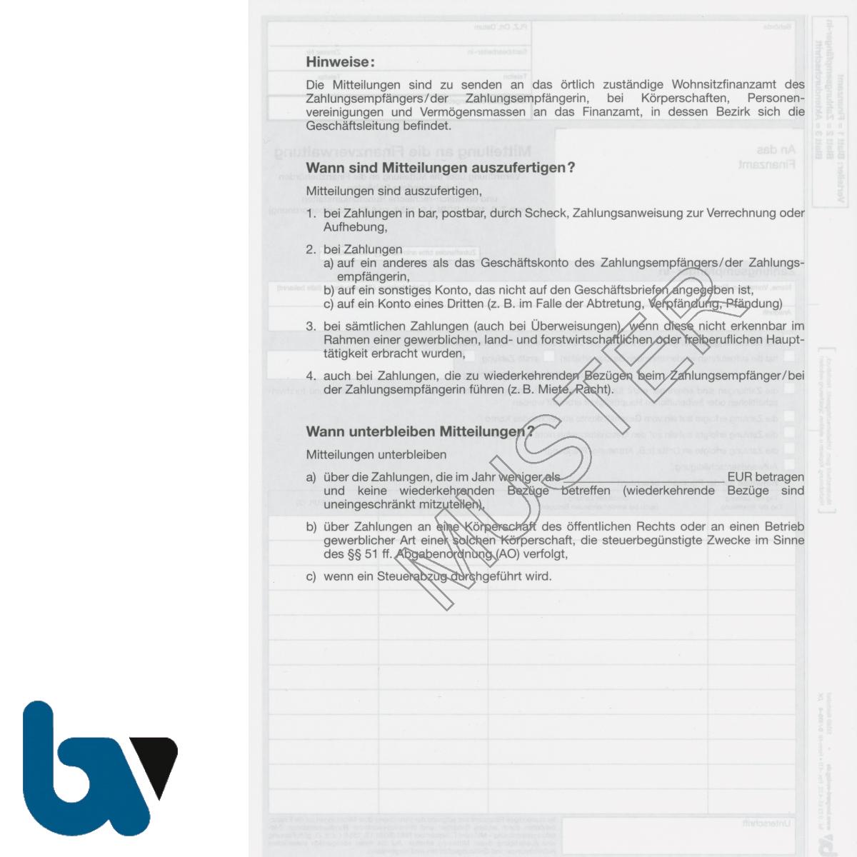 0/810-4 Mitteilung Finanzverwaltung Finanzbehörden Rundfunkanstalten Abgabenordnung 3-fach selbstdurchschreibend DIN A4 Rückseite | Borgard Verlag GmbH