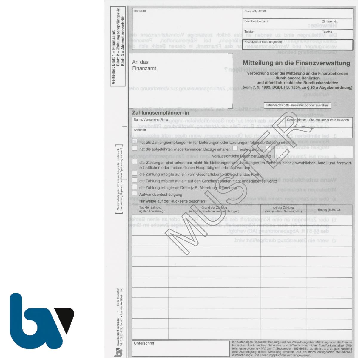 0/810-4 Mitteilung Finanzverwaltung Finanzbehörden Rundfunkanstalten Abgabenordnung 3-fach selbstdurchschreibend DIN A4 Vorderseite | Borgard Verlag GmbH