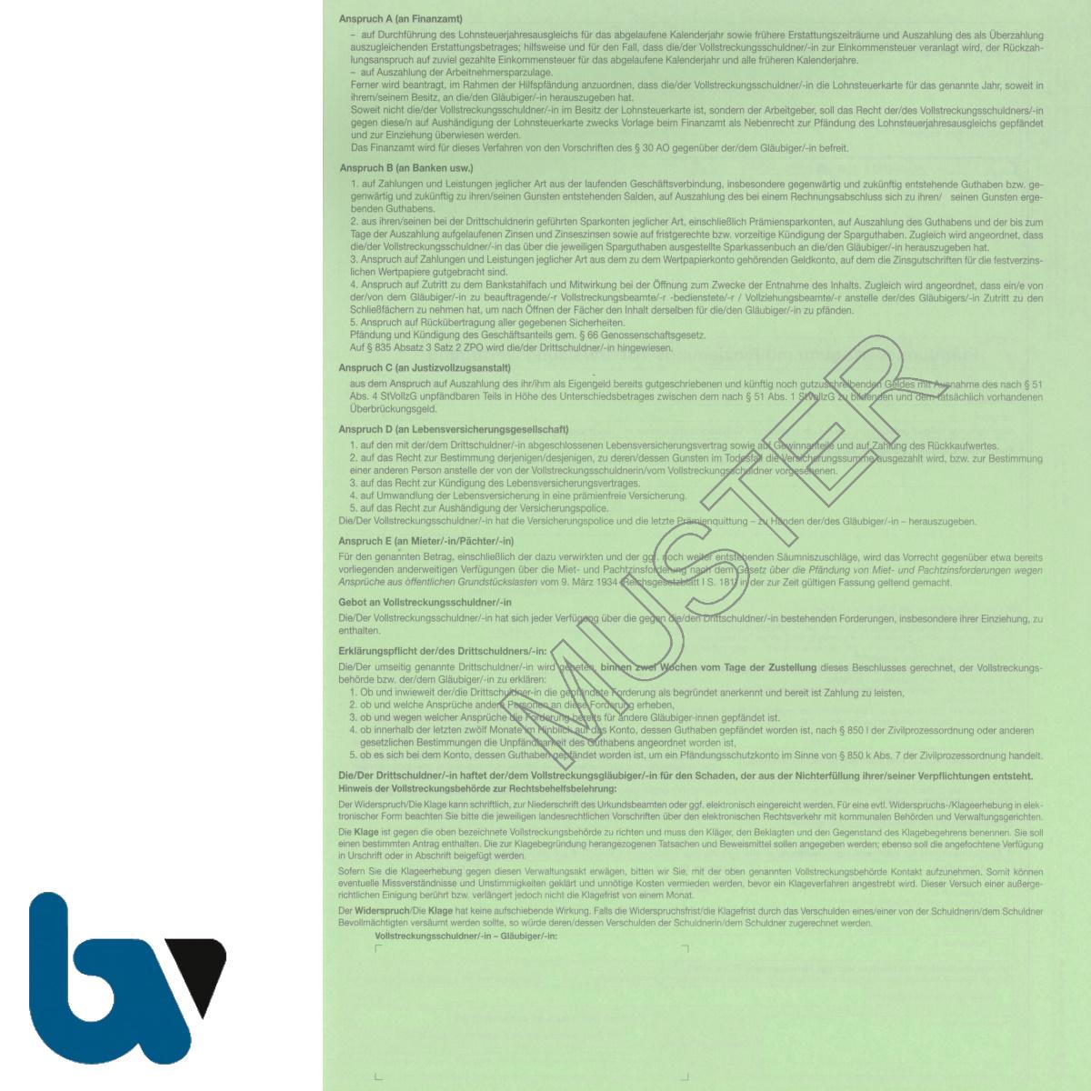 0/815-1 Pfändungsverfügung Einziehung Überweisung diverse Forderung Abgaben Konto Versicherung Miete Pacht Drittschuldnererklärung 4-fach selbstdurchschreibend DIN A4 Rückseite | Borgard Verlag GmbH