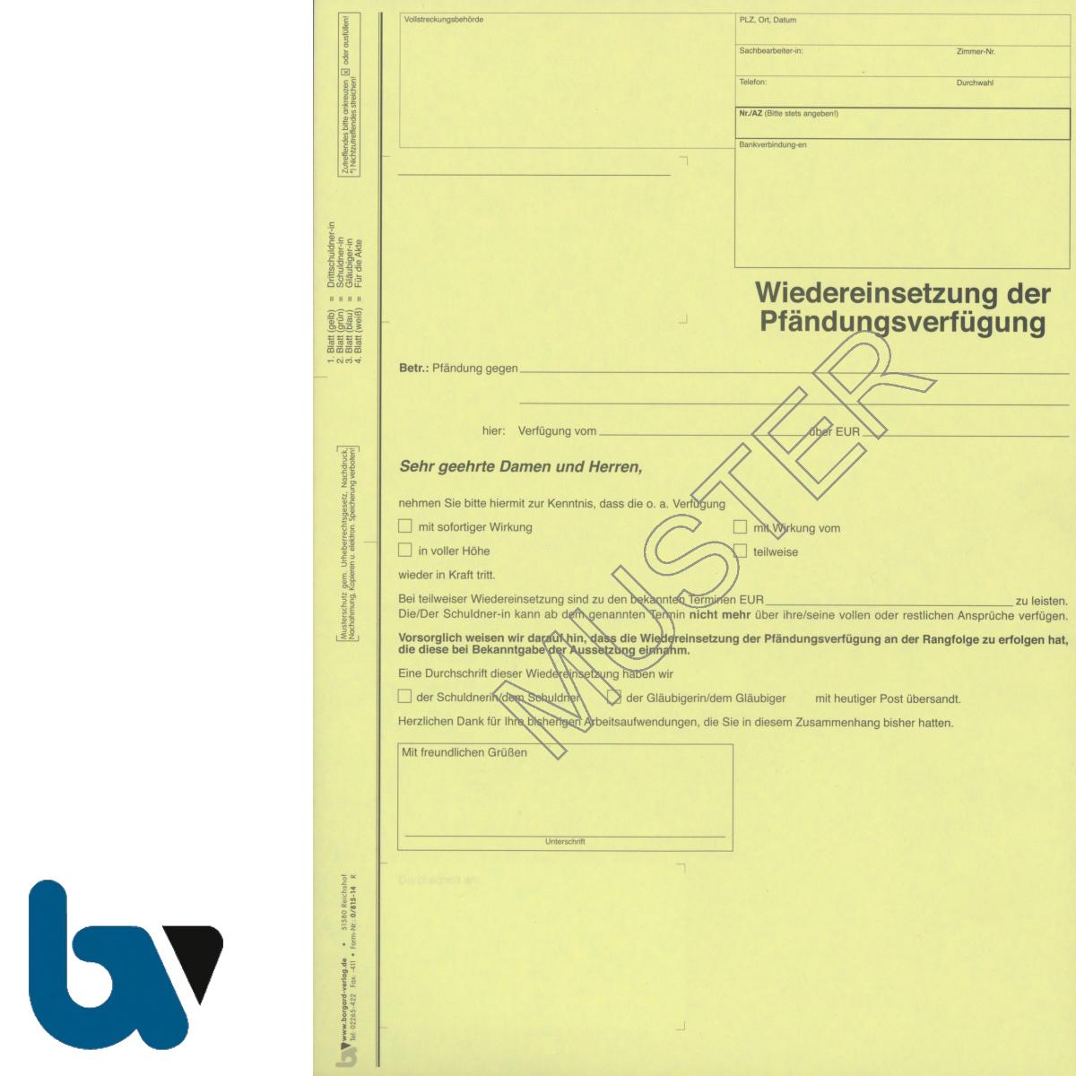 0/815-14 Wiedereinsetzung Pfändungsverfügung 4-fach selbstdurchschreibend DIN A4 | Borgard Verlag GmbH
