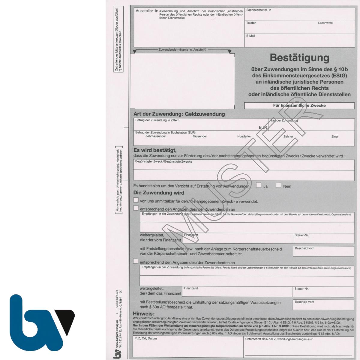 0/826-1 Bestätigung Geld Zuwendung Spende Behörden Muster Paragraph 10b Einkommensteuergesetz EStG 2-fach selbstdurchschreibend DIN A4 | Borgard Verlag GmbH