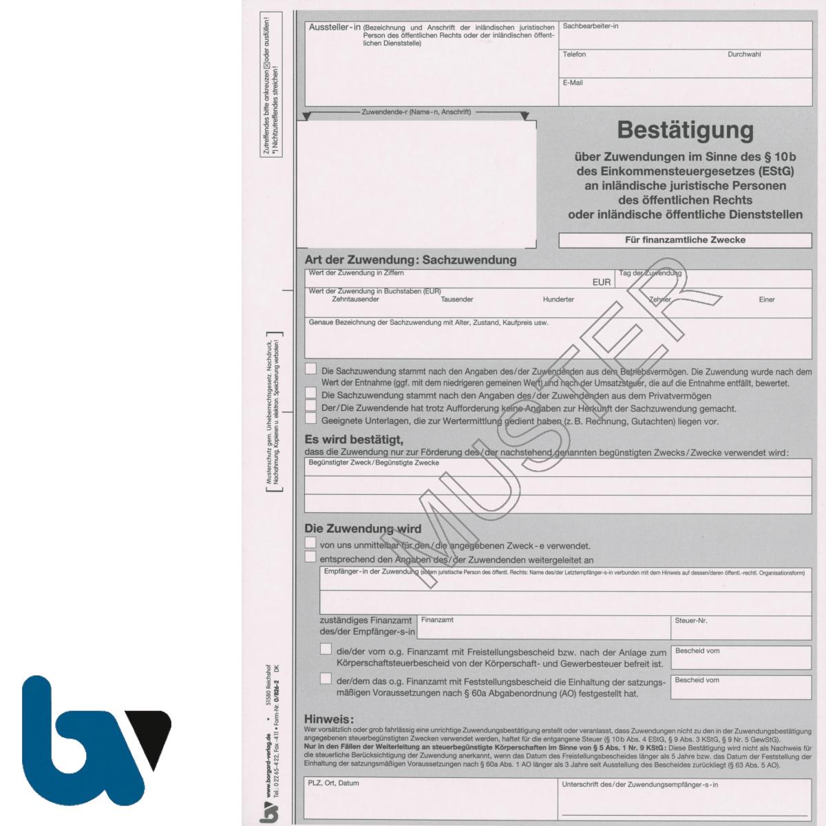 0/826-2 Bestätigung Sach Zuwendung Spende Behörden Muster Paragraph 10b Einkommensteuergesetz EStG 2-fach selbstdurchschreibend DIN A4 | Borgard Verlag GmbH