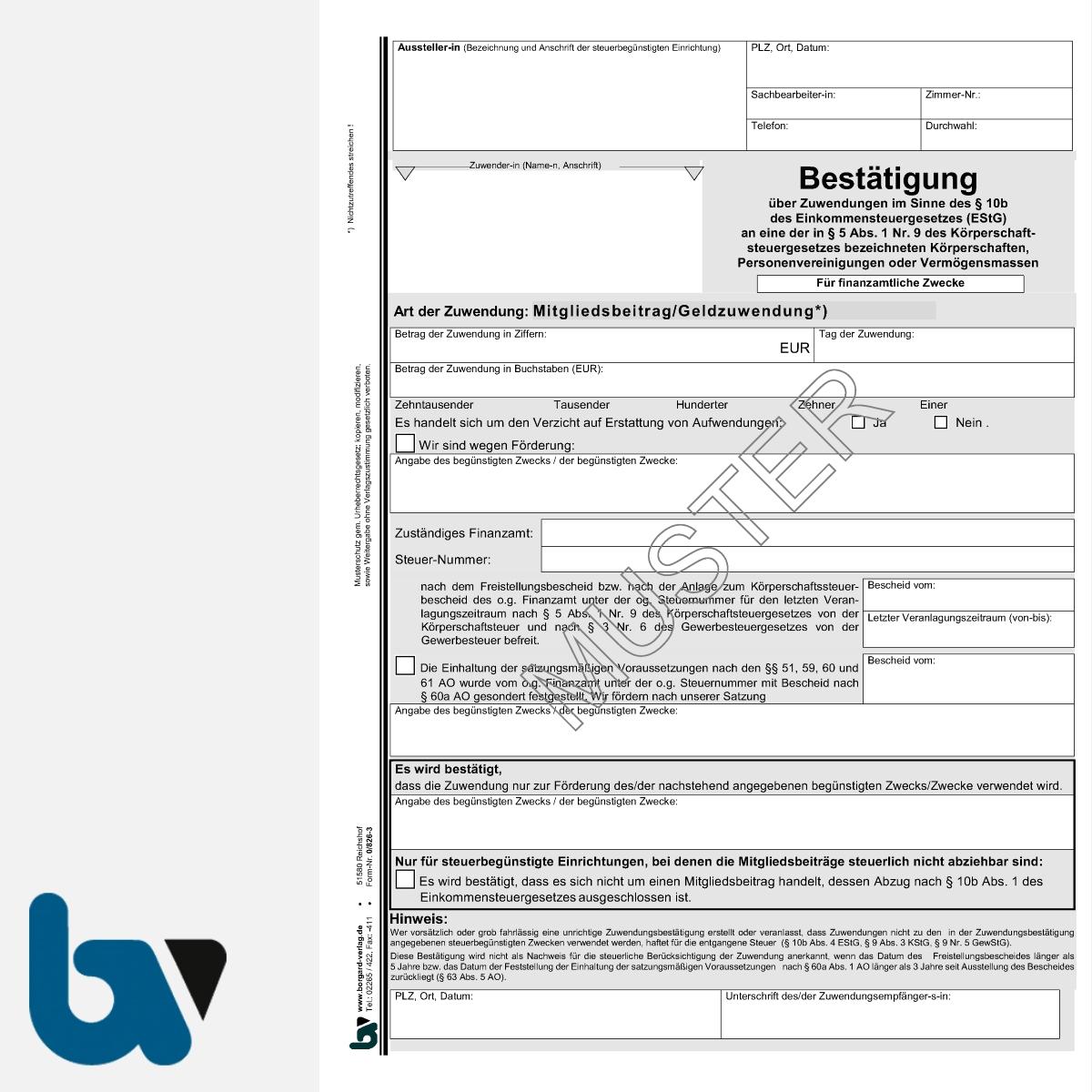0/826-3 Bestätigung Geld Zuwendung Mitgliedsbeitrag Spende Behörden Muster Paragraph 10b Einkommensteuergesetz EStG 2-fach selbstdurchschreibend DIN A4 | Borgard Verlag GmbH