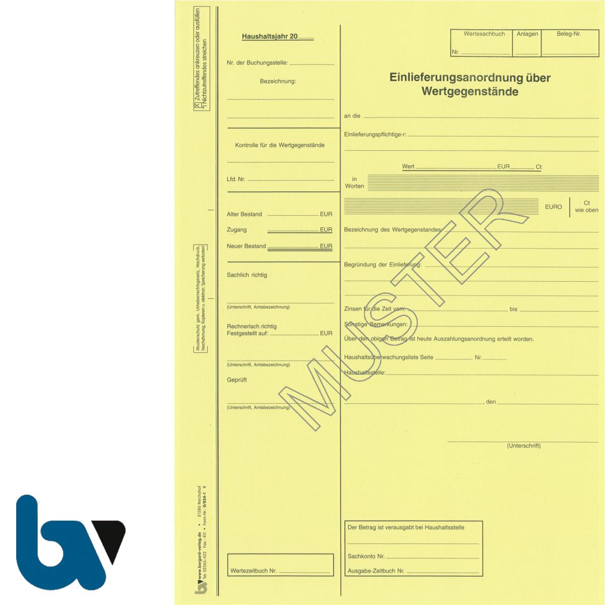 0/834-1 Einlieferungs Anordnung Wertgegenstand Wertgegenstände gelb DIN A4 | Borgard Verlag GmbH
