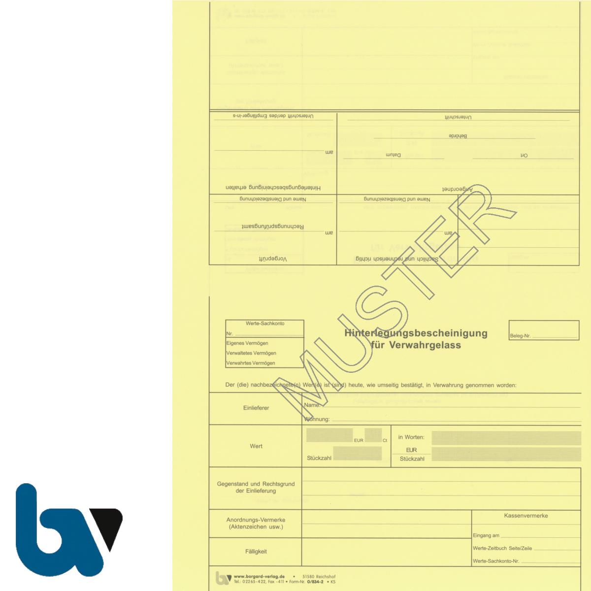 0/834-2 Einlieferungs Anordnung Verwahrgelass Hinterlegungsbescheinigung perforiert gelb DIN A4 Rückseite | Borgard Verlag GmbH