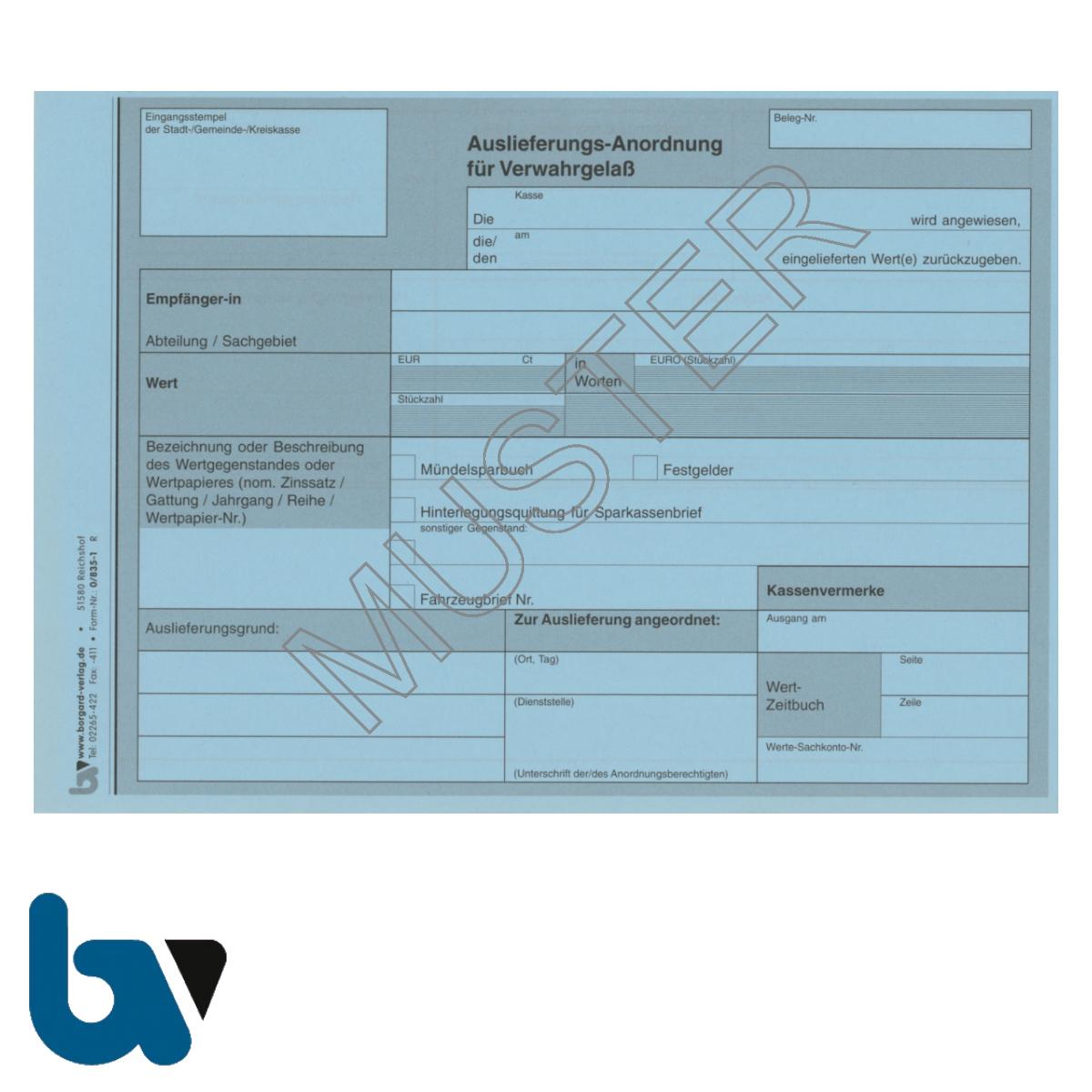 0/835-1 Auslieferungs Anordnung Verwahrgelass blau DIN A5 Vorderseite | Borgard Verlag GmbH