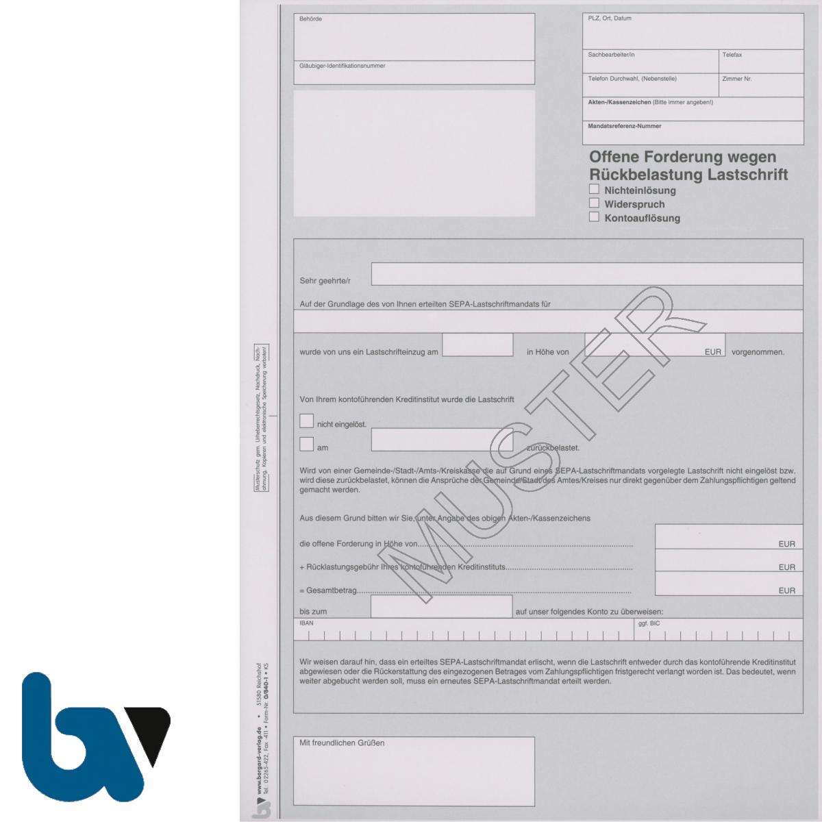 0/840-1 Offene Forderung Rückbelastung Lastschrift Nichteinlösung Widerspruch Kontoauflösung 2-fach selbstdurchschreibend DIN A4 | Borgard Verlag GmbH