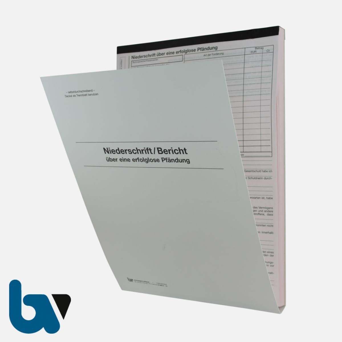 0/842-4 Niederschrift Bericht erfolglos fruchtlos Pfändung Einschlagdeckel Durchschreibeschutz Schreibschutzdeckel perforiert 2 mal 2-fach selbstdurchschreibend DIN A4 Außen | Borgard Verlag GmbH