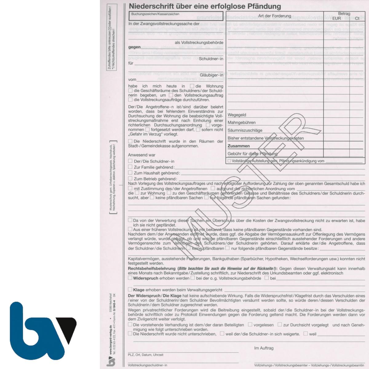 0/842-4 Niederschrift Bericht erfolglos fruchtlos Pfändung Einschlagdeckel Durchschreibeschutz Schreibschutzdeckel perforiert 2 mal 2-fach selbstdurchschreibend DIN A4 Seite 1 | Borgard Verlag GmbH