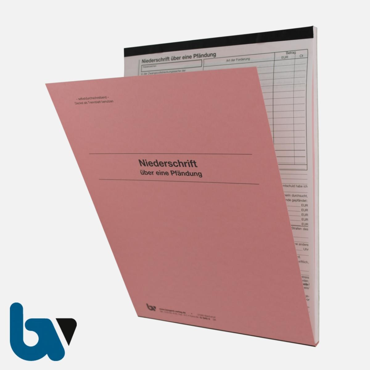 0/842-5 Niederschrift Sach Pfändung Vollstreckung Einschlagdeckel Durchschreibeschutz Schreibschutzdeckel perforiert 2-fach selbstdurchschreibend DIN A4 Außen | Borgard Verlag GmbH